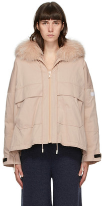 Yves Salomon Army Pink Down and Fur Bachette Jacket