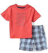 Nautica Baby Boys 12-24 Months Waves Graphic Short-Sleeve Tee & Plaid Short Set