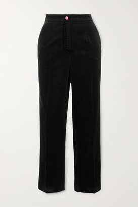 Dolce & Gabbana Topstitched Cotton-velvet Slim-fit Pants - Black