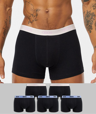 ASOS DESIGN 5 pack trunk in black organic cotton with dusty pink and pale blue branded waistbands