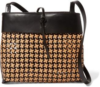 Kara Tie Basketweave Leather Shoulder Bag