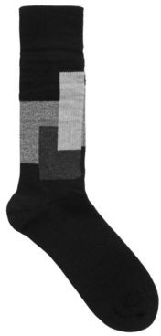 BOSS Ribbed boot socks with contrast squares in wool blend