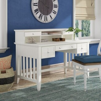 Beachcrest Home Lexie Solid Wood Secretary Desk with Hutch