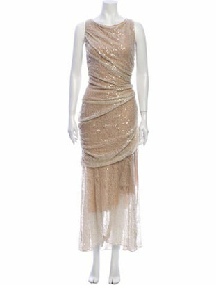 Carmen Marc Valvo Scoop Neck Long Dress