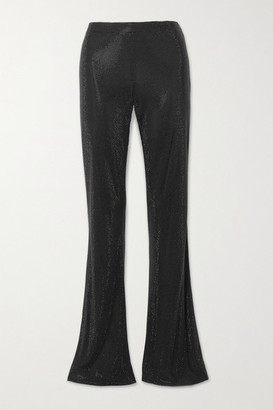 Versace Swarovski Crystal-embellished Stretch-crepe Flared Pants - Black