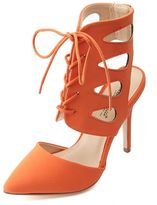 Charlotte Russe Anne Michelle Cut-Out Lace-Up Pointed Toe Pumps
