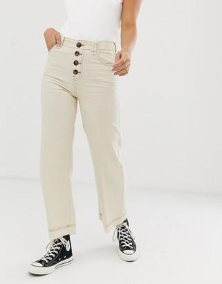 Bershka button top denim culottes in off white