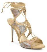 Rene Caovilla Crystal-Embellished Suede Lace-Up Sandals