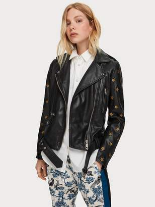 Scotch & Soda Star Embroidery Leather Jacket
