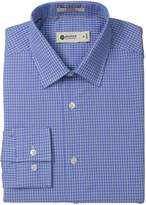 Haggar Men's Line Check Point Collar Regular Fit Long Sleeve Dress Shirt