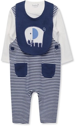 M&Co Striped dungarees top and bib set (Newborn-18mths)