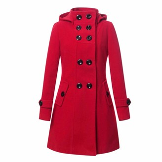 LOPILY Ladies Double Breasted Woolen Coats Hooded Jacket Solid Color Wind Resistant Warm Wool Trench Jacket for Women WinterRedM