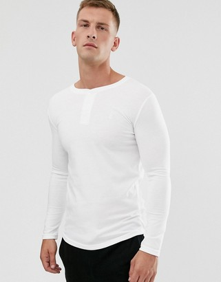 Soul Star long sleeve henley top in white