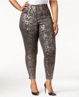 Melissa McCarthy Trendy Plus Size Metallic-Print Skinny Jeans