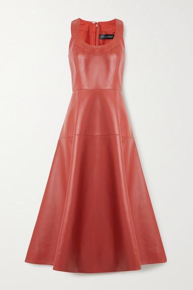 Oscar de la Renta Paneled Leather Midi Dress - Brick