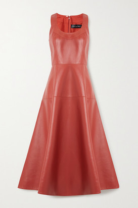 Oscar de la Renta Paneled Leather Midi Dress - Brick