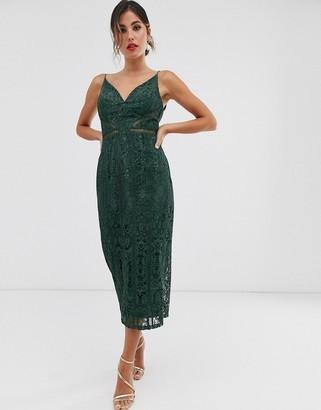 Asos Design DESIGN midi pencil dress with ladder trim detail-Multi