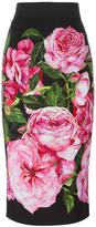 Dolce & Gabbana rose print straight skirt - women - Silk/Cotton/Spandex/Elastane/Viscose - 40