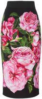 Dolce & Gabbana rose print straight skirt