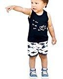 Baby Boys Clothes Set, Fheaven Shark Sleeveless T shirt Tops + Black Shorts (6M, Black)