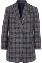 Brunello Cucinelli Sequined Checked Woven Blazer - Blue