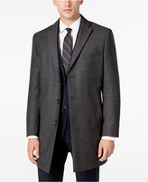 Calvin Klein Men's Charcoal Plaid Overcoat
