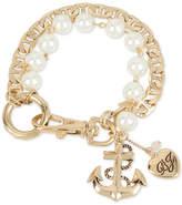 Betsey Johnson Gold-Tone Imitation Pearl Charm Bracelet