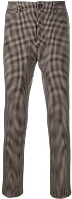Closed Houndstooth-Pattern Tailored Trousers