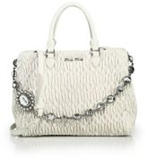 Miu Miu Nappa Crystal Matelasse Leather Satchel