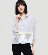 LOFT Lou & Grey Blockstripe Cropped Button Down Shirt