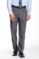 Louis Raphael Windowpane Flat Front Wool Pant