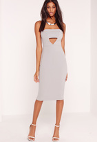 Missguided Crepe Cut Out Bandeau Midi Dress Grey