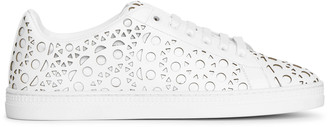 Alaia White laser cut leather sneakers