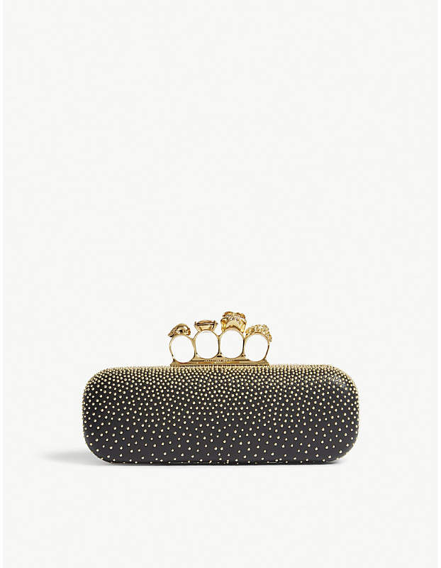 Alexander McQueen Studded skull leather knuckle clutch