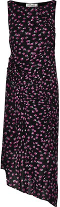 Diane von Furstenberg Maia Asymmetric Pleated Floral-print Mesh Dress