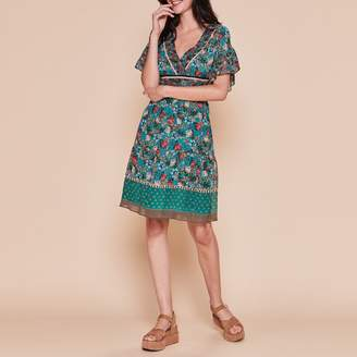 Derhy Florin Floral Print Dress with Short Ruffled Sleeves