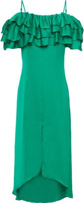 Maje Cold-shoulder Tiered Ruffled Satin Midi Dress