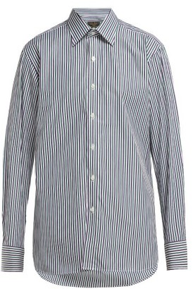 Emma Willis Bengal-stripe Slim-fit Cotton Shirt - Womens - Green Navy