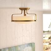"Laurèl Denice 3 - Light 18"" Simple Bowl Semi Flush Mount Foundry Modern Farmhouse Fixture Finish: Chrome, Bulb Type: Incandescent"