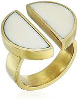 Soko Split Moon Ring, White, Size 6 (Gold-tone)