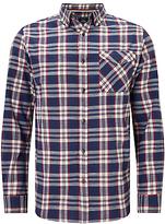 John Lewis Slub Check Shirt, Blue