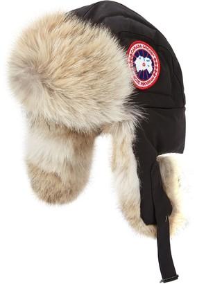 Canada Goose Black Fur-trimmed Shell Aviator Hat