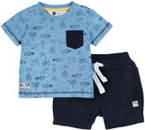 Petit Lem Surf Wave Top & Shorts Set, Blue, Size 12-24M