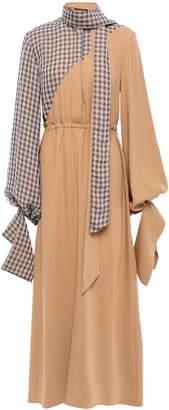 Rokh Tie-neck Two-tone Crepe Midi Dress