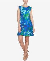CeCe Printed Fit & Flare Dress