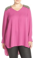 Melissa McCarthy Crystal Shoulder Tunic Top (Plus Size)