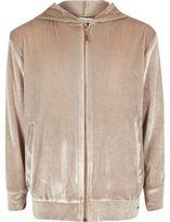 River Island Girls pink metallic velvet zip up hoodie