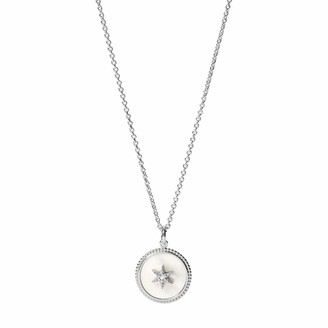 Fossil Vintage Star White Mother of Pearl Sterling Silver Pendant Necklace