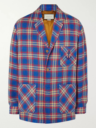 Gucci Embroidered Checked Linen And Cotton-Blend Blazer