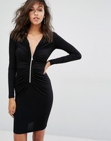 Versace Ruched Front Bodycon Dress with Zip